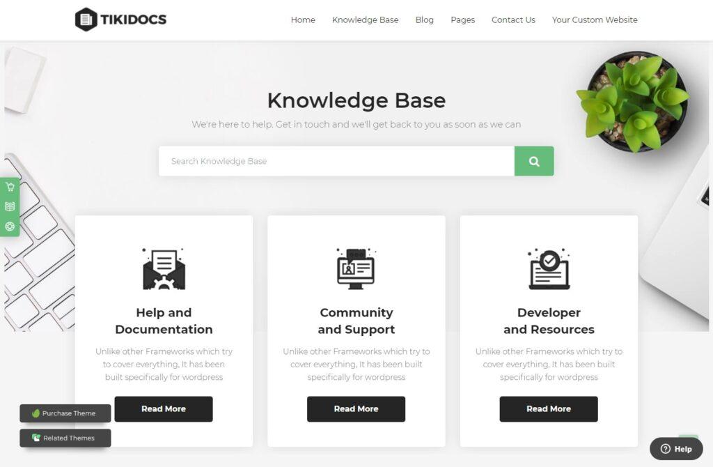 Tikidocs – Knowledgebase Support Forum WP Theme