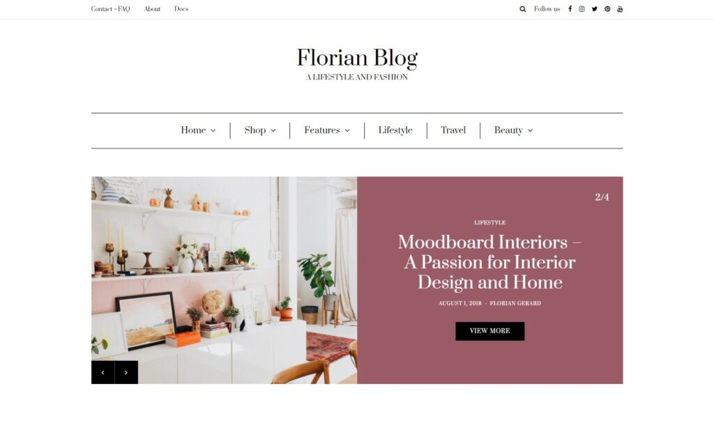 Florian – A Lifestyle and Fashion Using Gutenberg