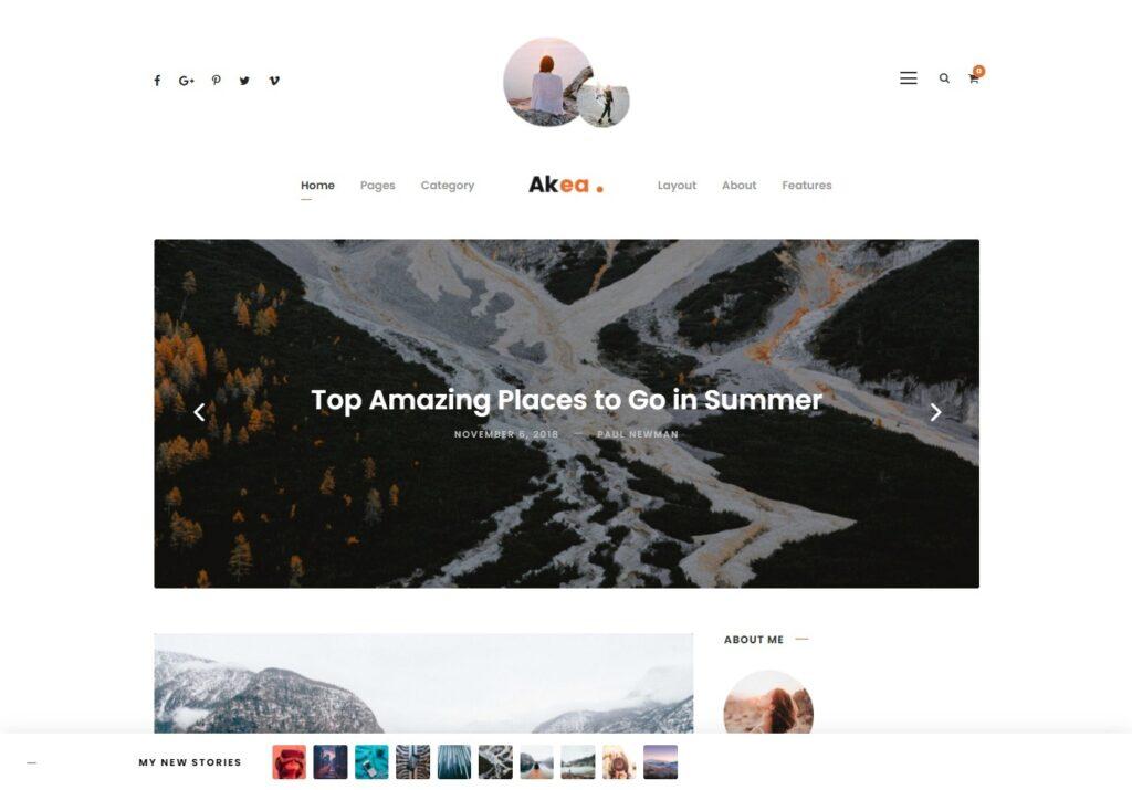 Akea Lifestyle Centered Minimal Blog Theme