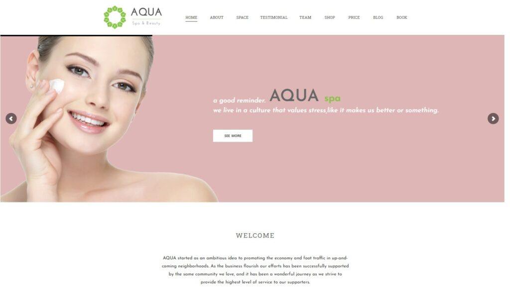 Aqua WordPress One Page Yoga Studio Theme