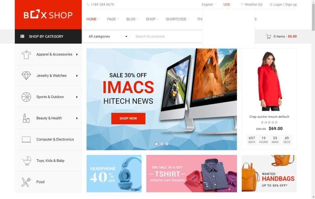 BoxShop Responsive eCommerce Theme for Businesses
