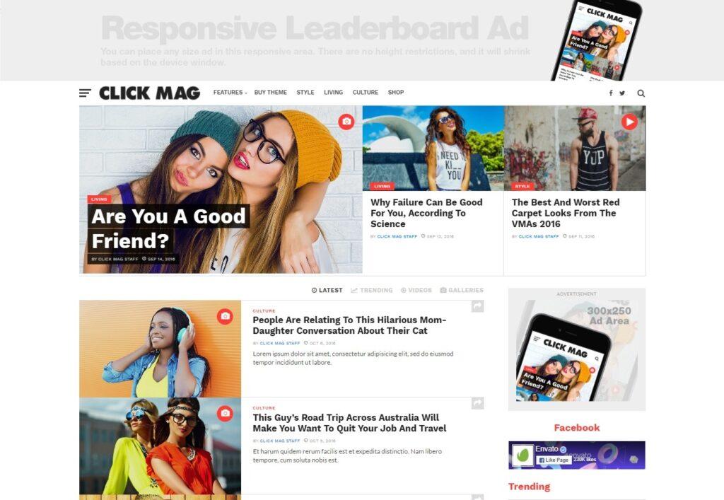 Click Mag Viral WordPress News Magazine Blog Theme
