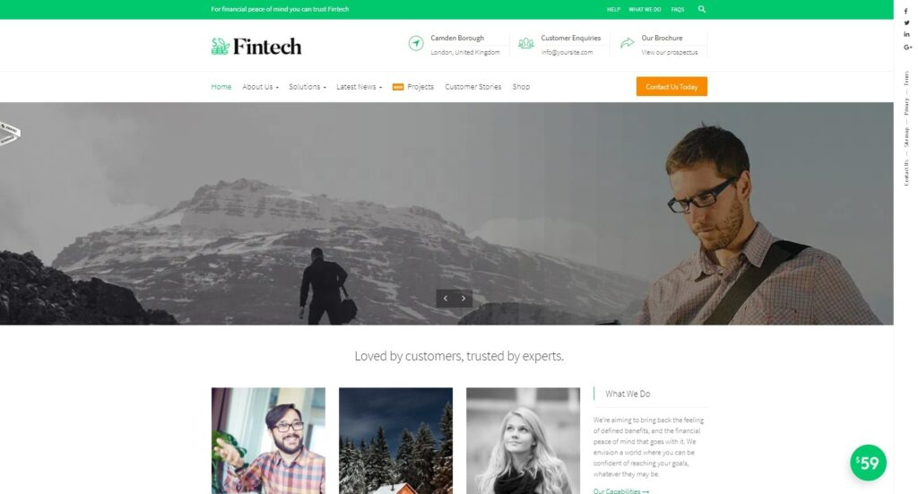 Fintech WordPress Theme for Finances and Technology