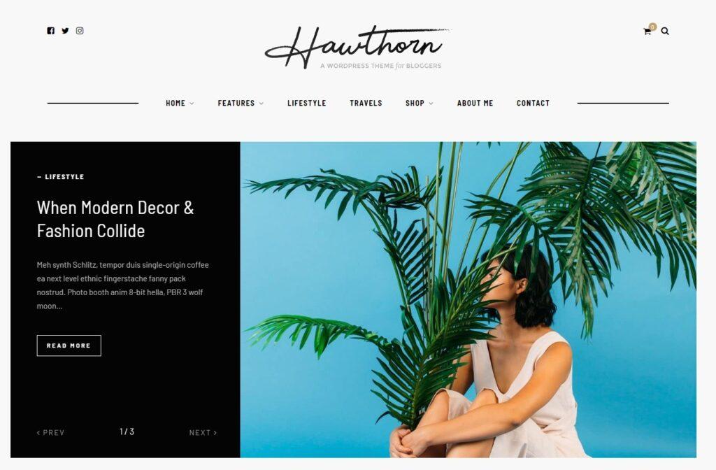 Hawthorn Lifestyle Blogger WordPress Theme