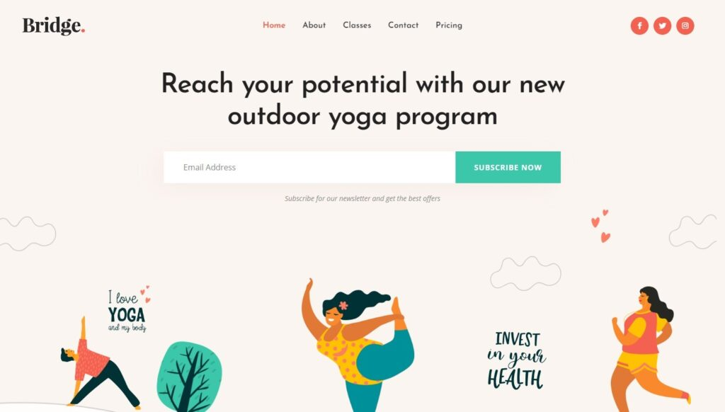 Homepage for Yoga Websites Bridge