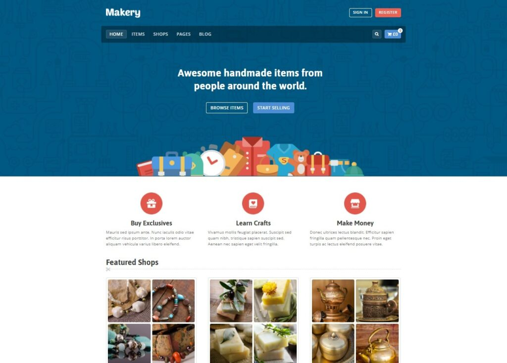 Makery Marketplace WordPress Theme
