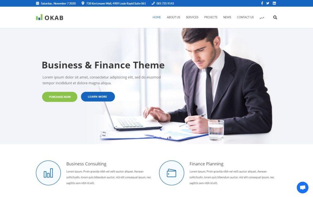 Okab Business and Finance WordPress Theme