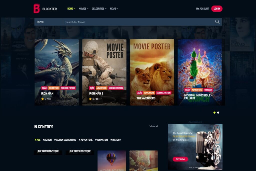 Block Buster WordPress Theme for Movie Posters and Stuff
