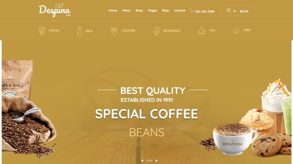 Despina – Coffee Shops Cafes Bars and Restaurant WordPress Theme