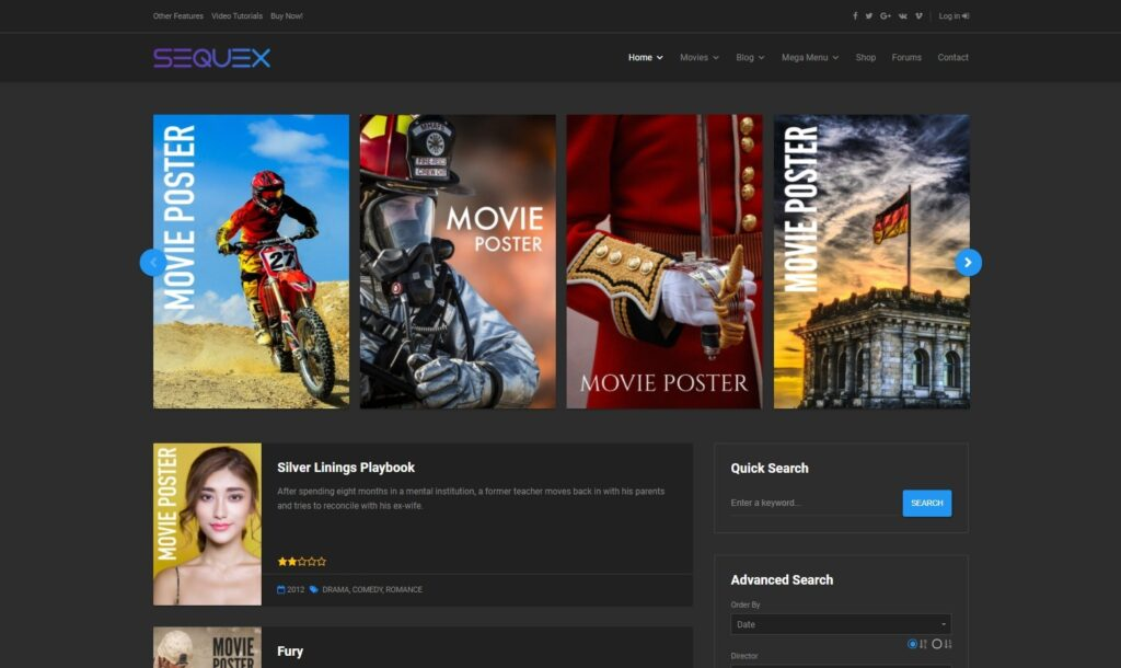 Sequex Movie Poster and Database WordPress theme
