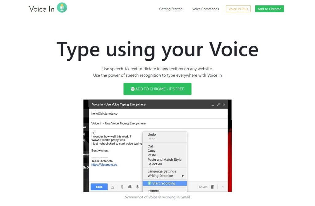 Voice In 1 Speech To Text Extension for Chrome
