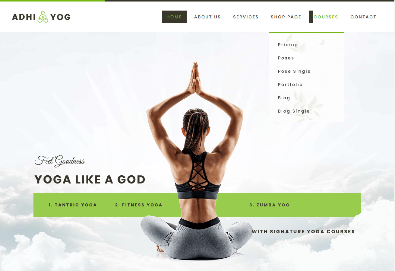 Adhi WordPress Theme for Yoga Studios