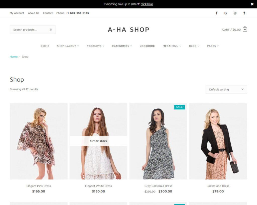 AhaShop WordPress WooCommerce Grid Theme