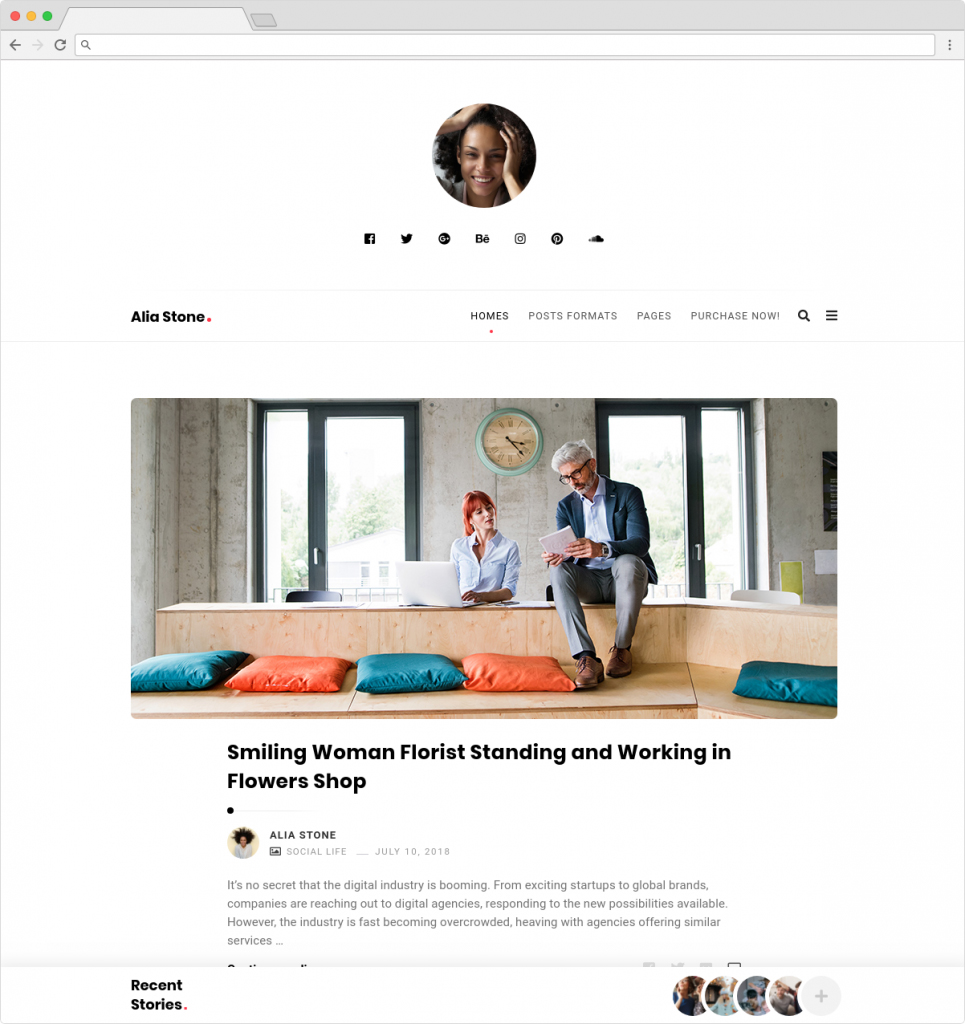 Alia WordPress Minimalist Personal Blog Theme