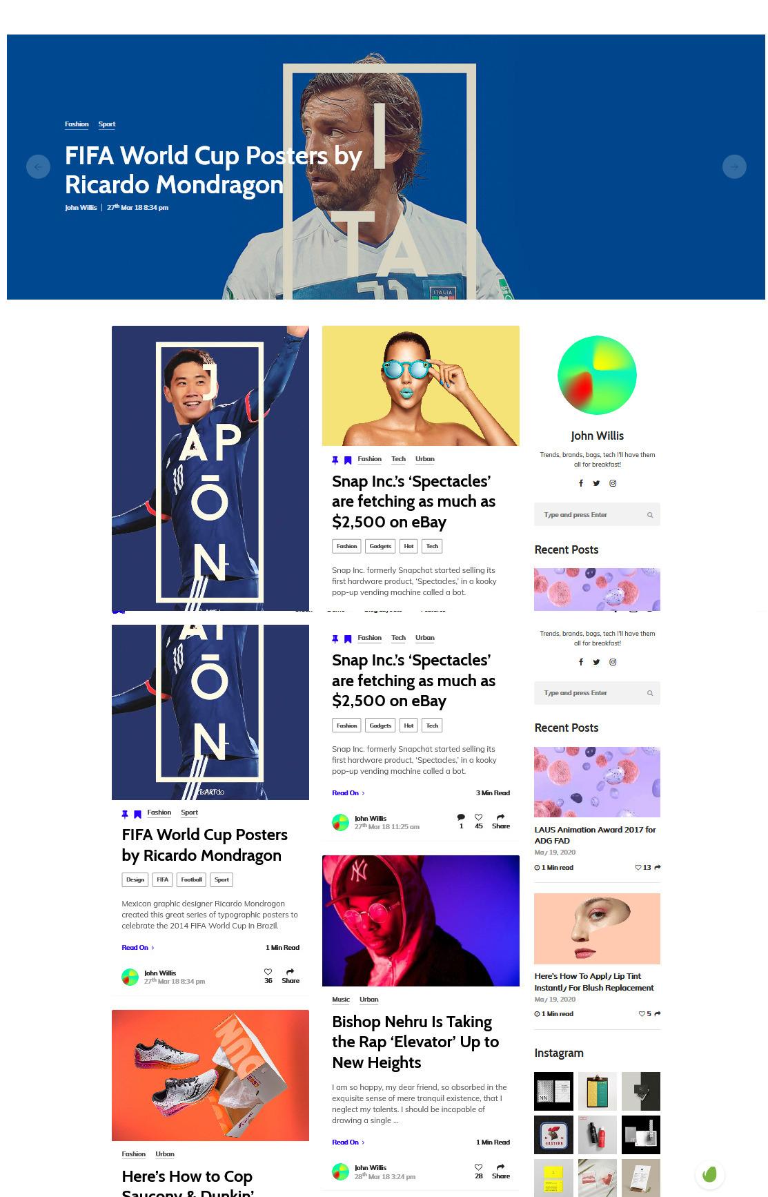 Alimo WordPress Pinterest Style Masonry Grid Theme