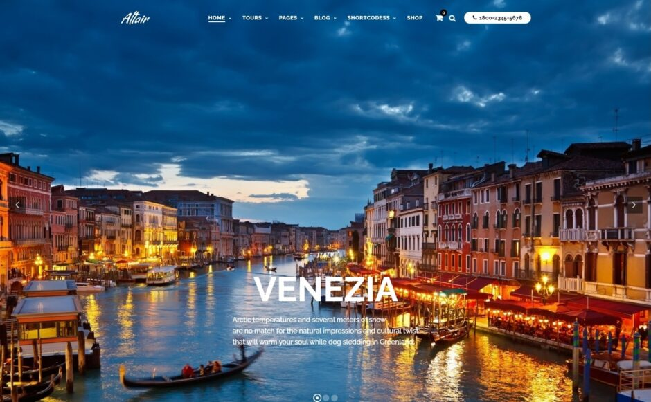 Altair Full Screen Theme for Highlighting Travel Destinations