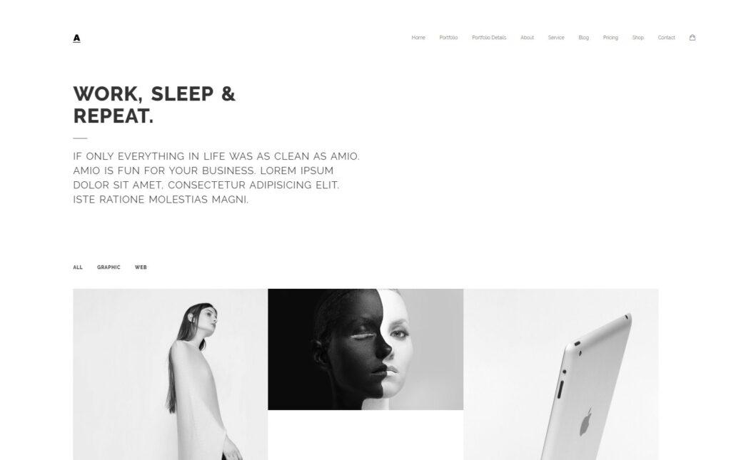 Amio Minimal Flat WordPress Themes