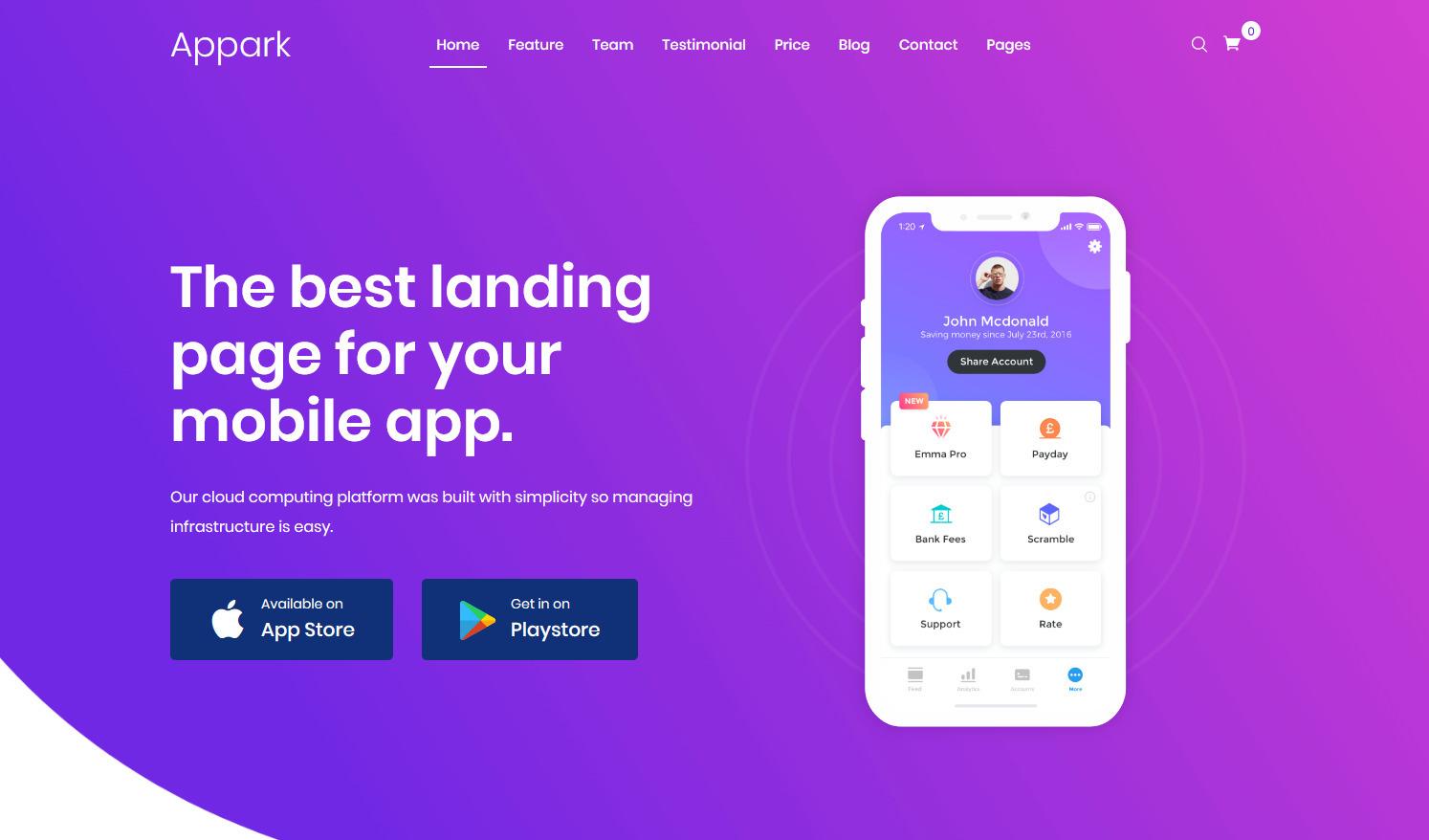 Appark Landing Page WordPress Theme