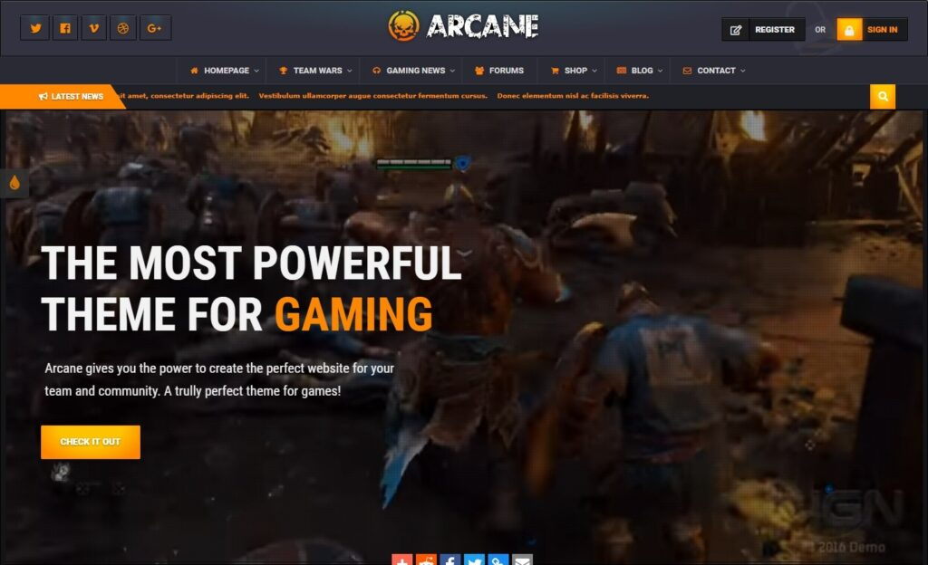 Arcane WordPress Gaming Theme