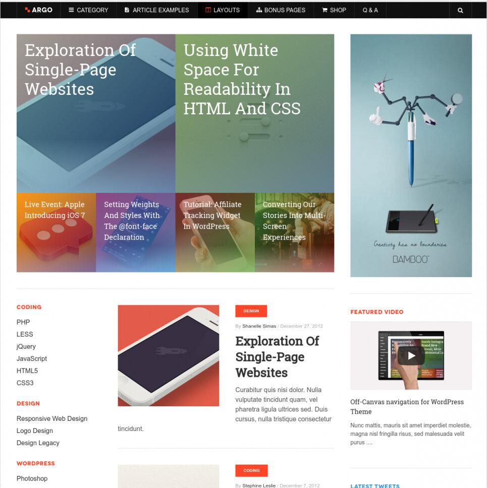 Argo Metro Style WordPress Business Theme