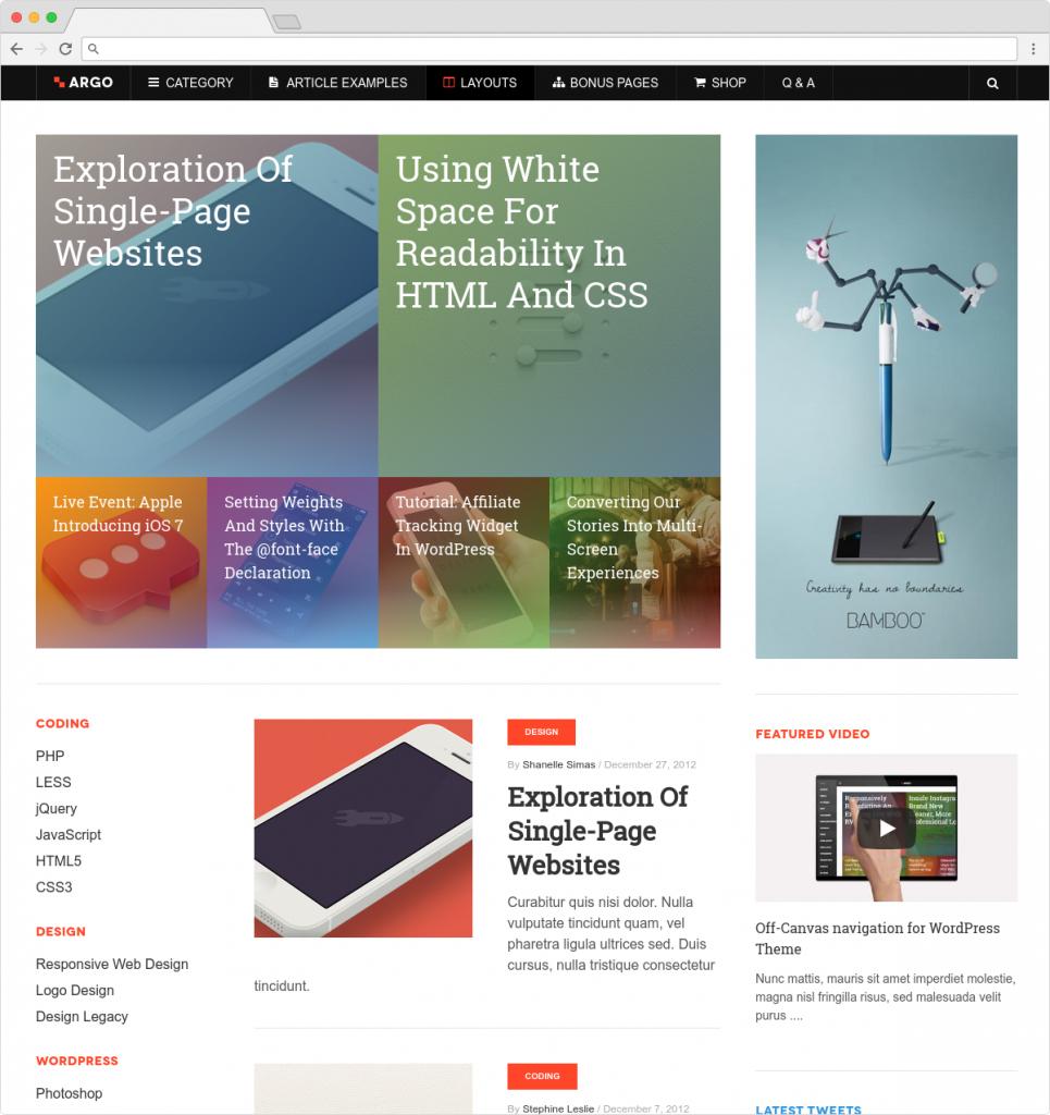 Argo Metro Style WordPress EBooks Business Theme