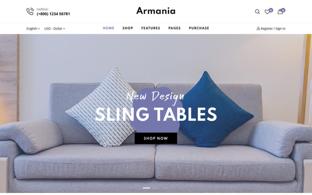 Armania Clean Flat Furniture Shop Web Template