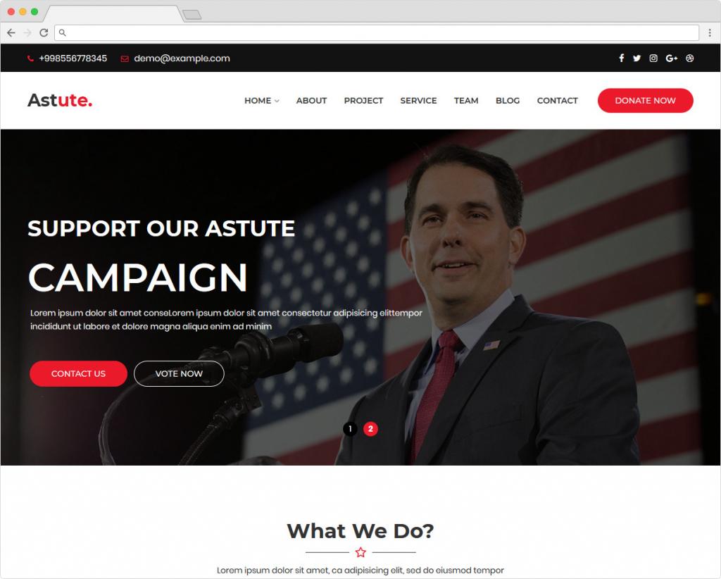 Astute WordPress Theme For Politicians