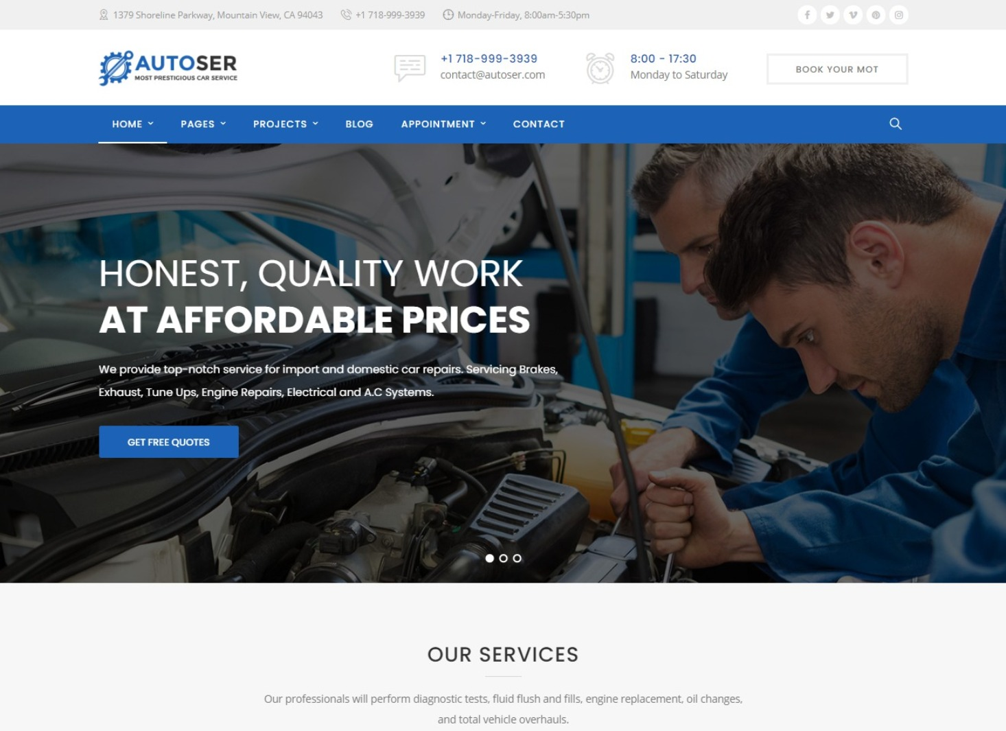 Autoser WordPress Theme for Auto Mechanics