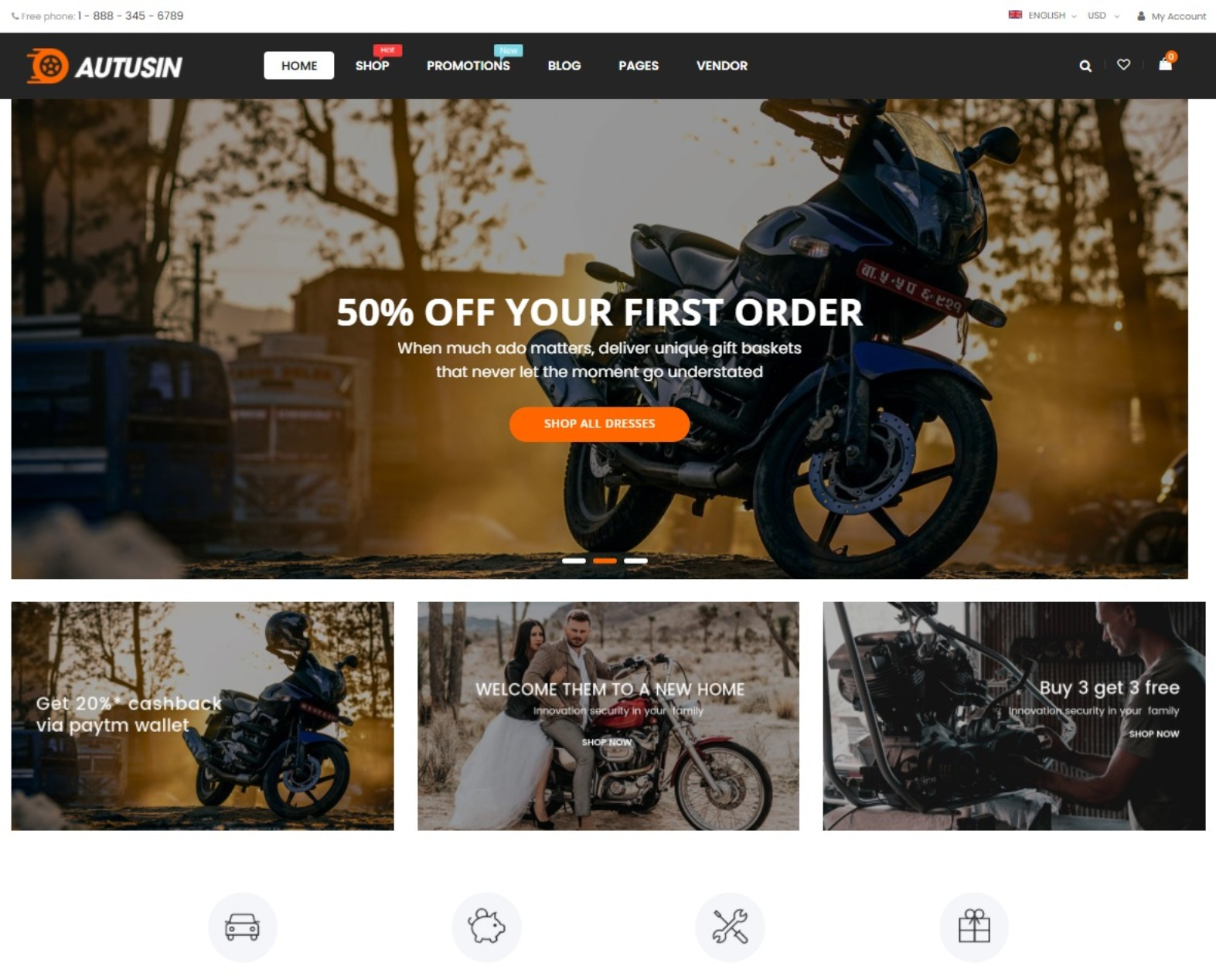 Autusin Auto Parts Equipments Accessories WooCommerce Theme