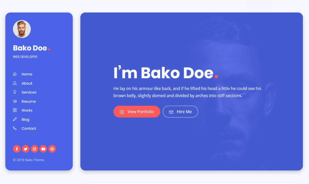 Bako WordPress vCard Theme