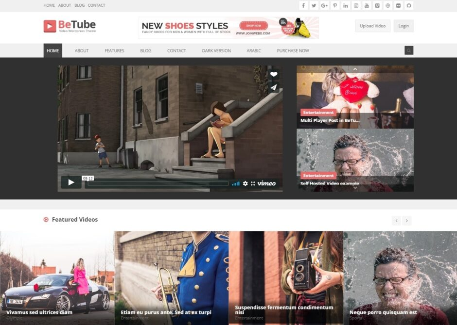 BeTube WordPress Theme Similar to YouTube