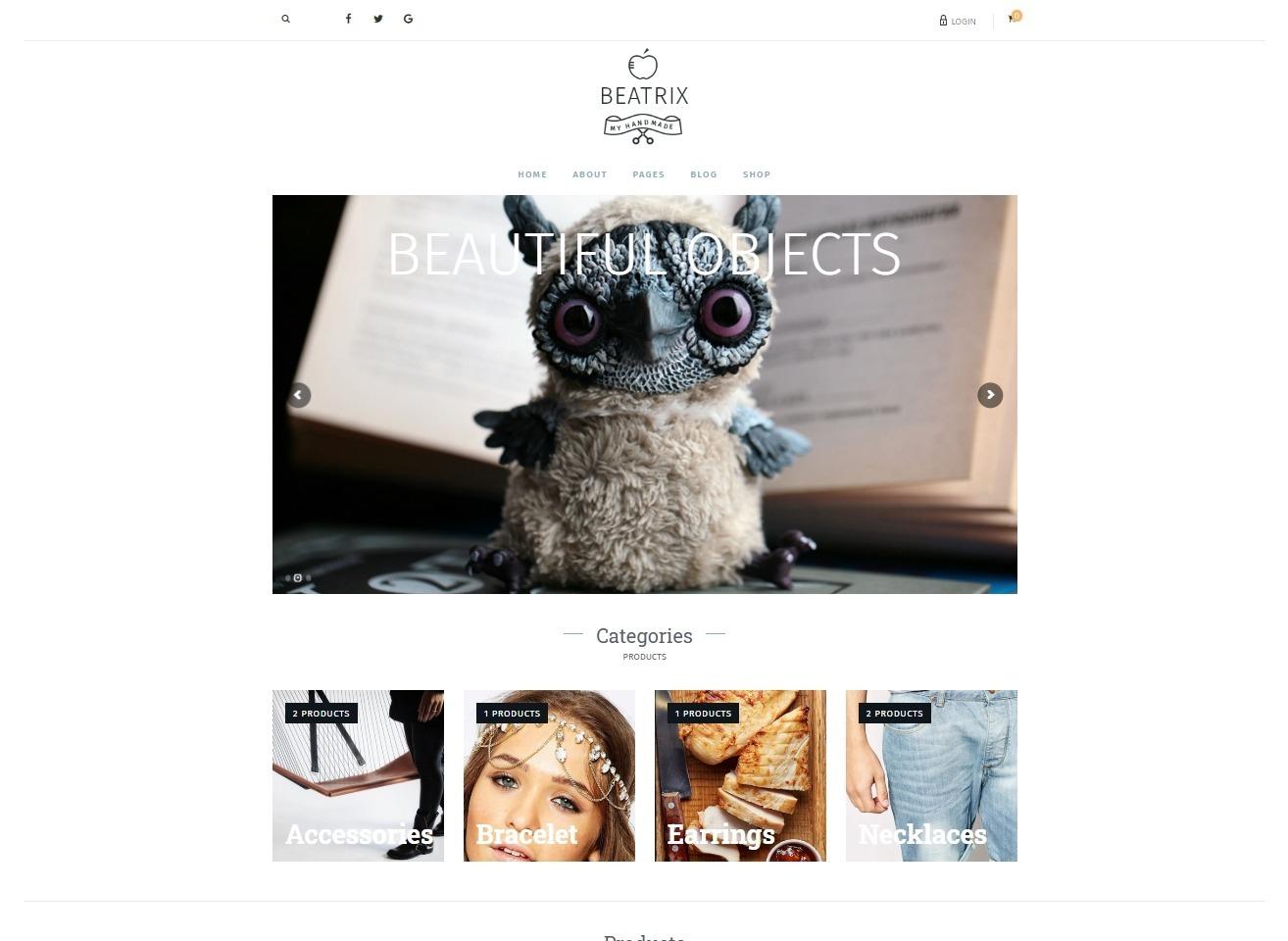 Beatrix Minimal WordPress eCommerce and Blog Theme