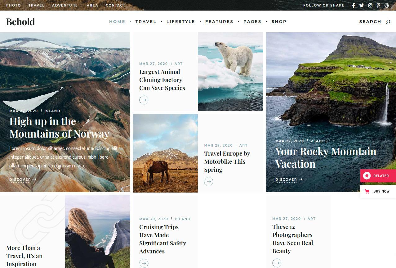 Behold Metro Style WordPress Blog Grid
