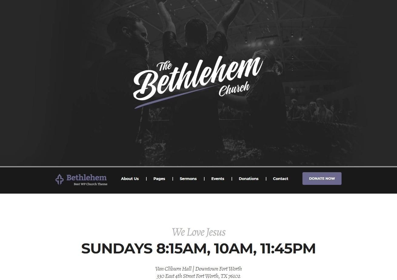 Bethlehem Stylish and Modern Church Theme for WordPress
