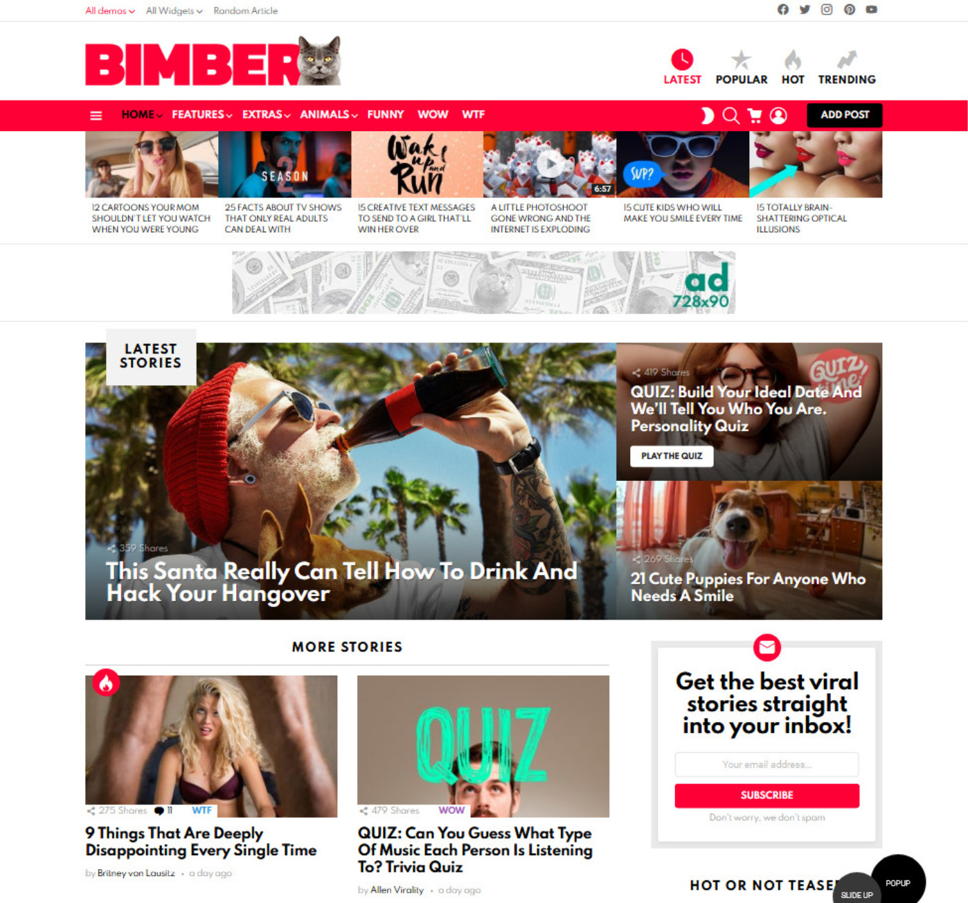 Bimber YouTube Clone Video Submission WordPress Theme