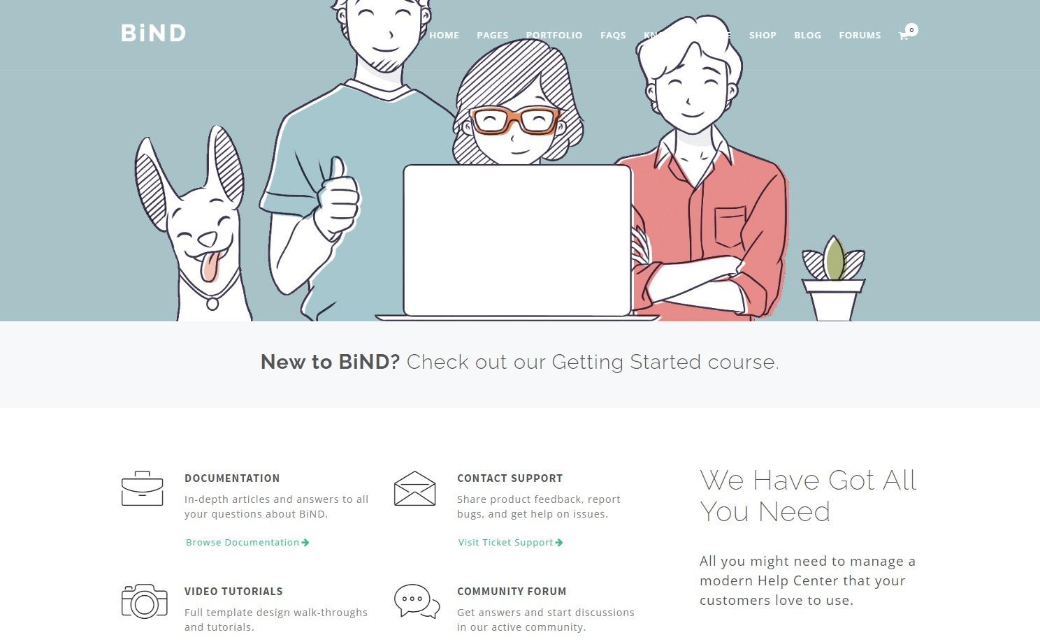 Bind Knowledge Desk WordPress Tech Support Theme