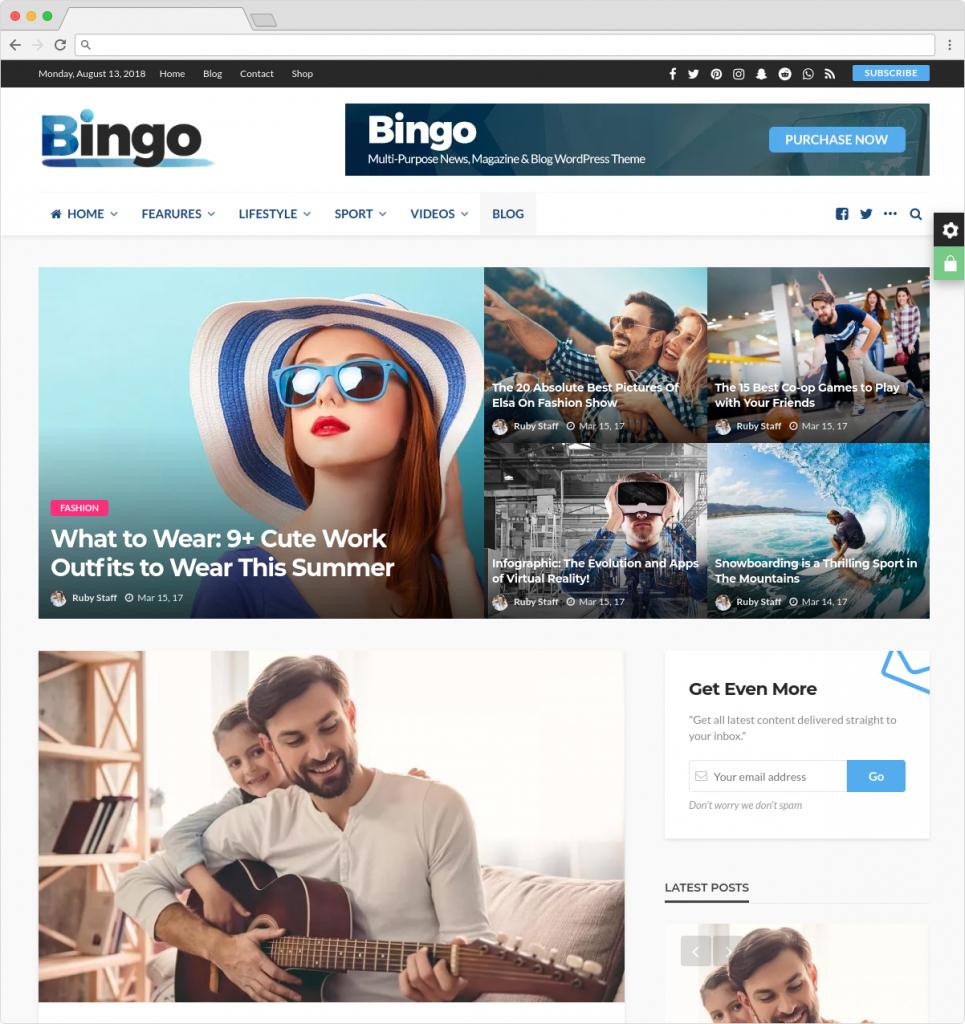 Bingo News Magazine And Travel Blog WordPress Theme With ECommerce