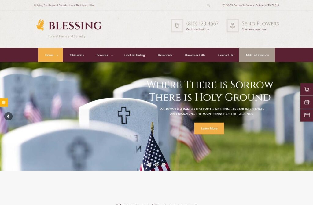 Blessing WordPress Theme for Funeral Parlors and Services