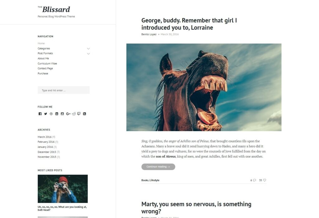 Blissard WordPress Theme with Minimal Design