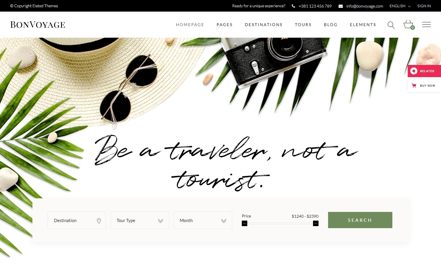 BonVoyage Travel Agency and Tour Booking Theme