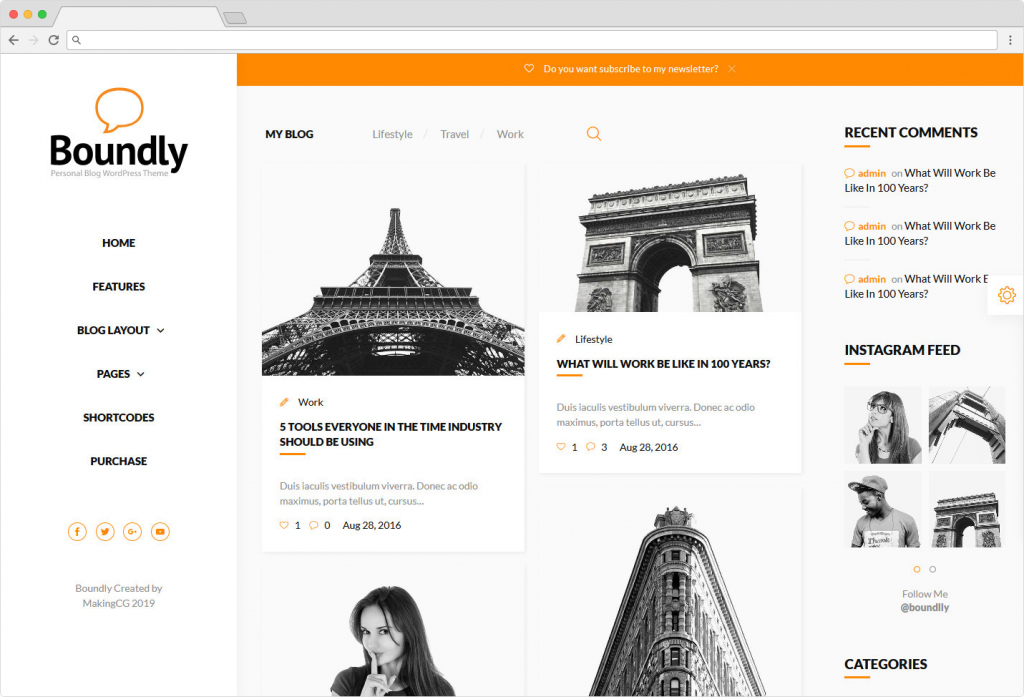 Boundly Personal Recipe And Food Blog WP Theme