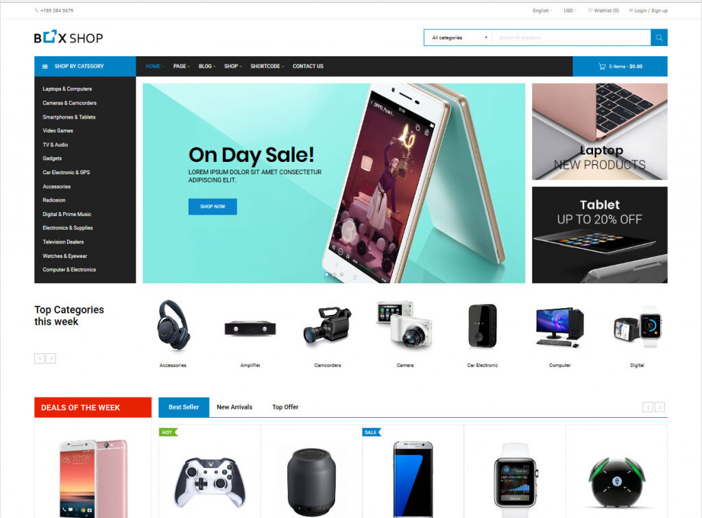 BoxShop Parallax WooCommerce One Page Theme