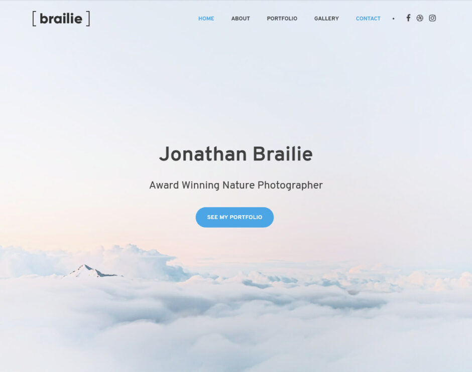 Braile One Page Full Screen Portfolio WordPress Theme