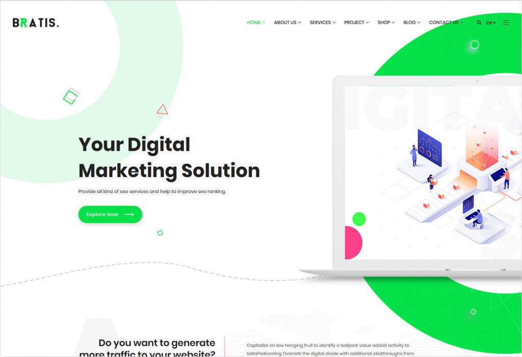 Bratis Clean Flat WordPress Digital Agency Theme