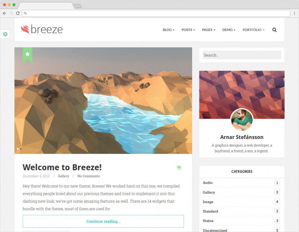 Breeze WordPress Flat Blogging Theme