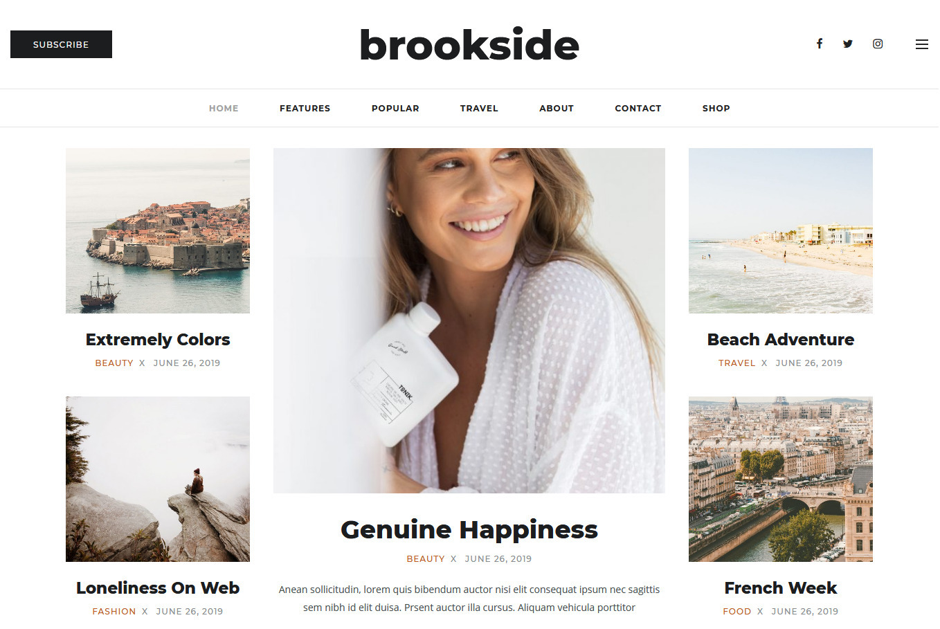 Brookside Personal WordPress Blog Theme
