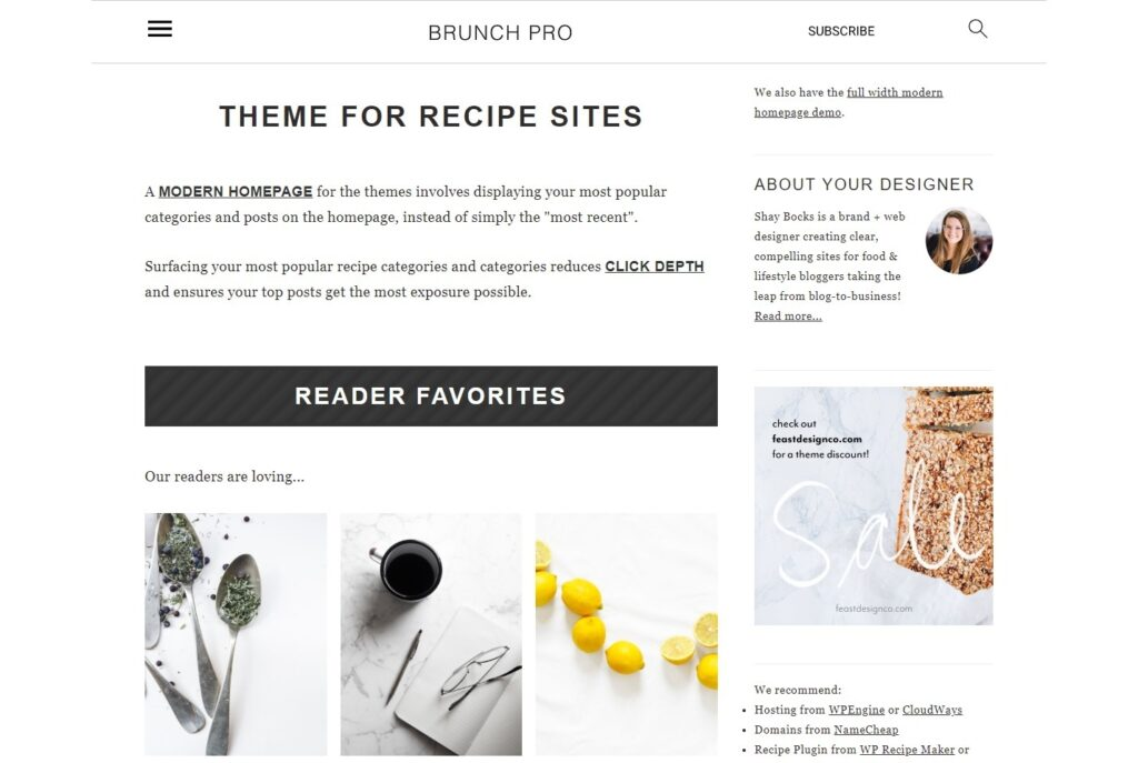 Brunch Pro Food Blog and Recipe Blog Theme