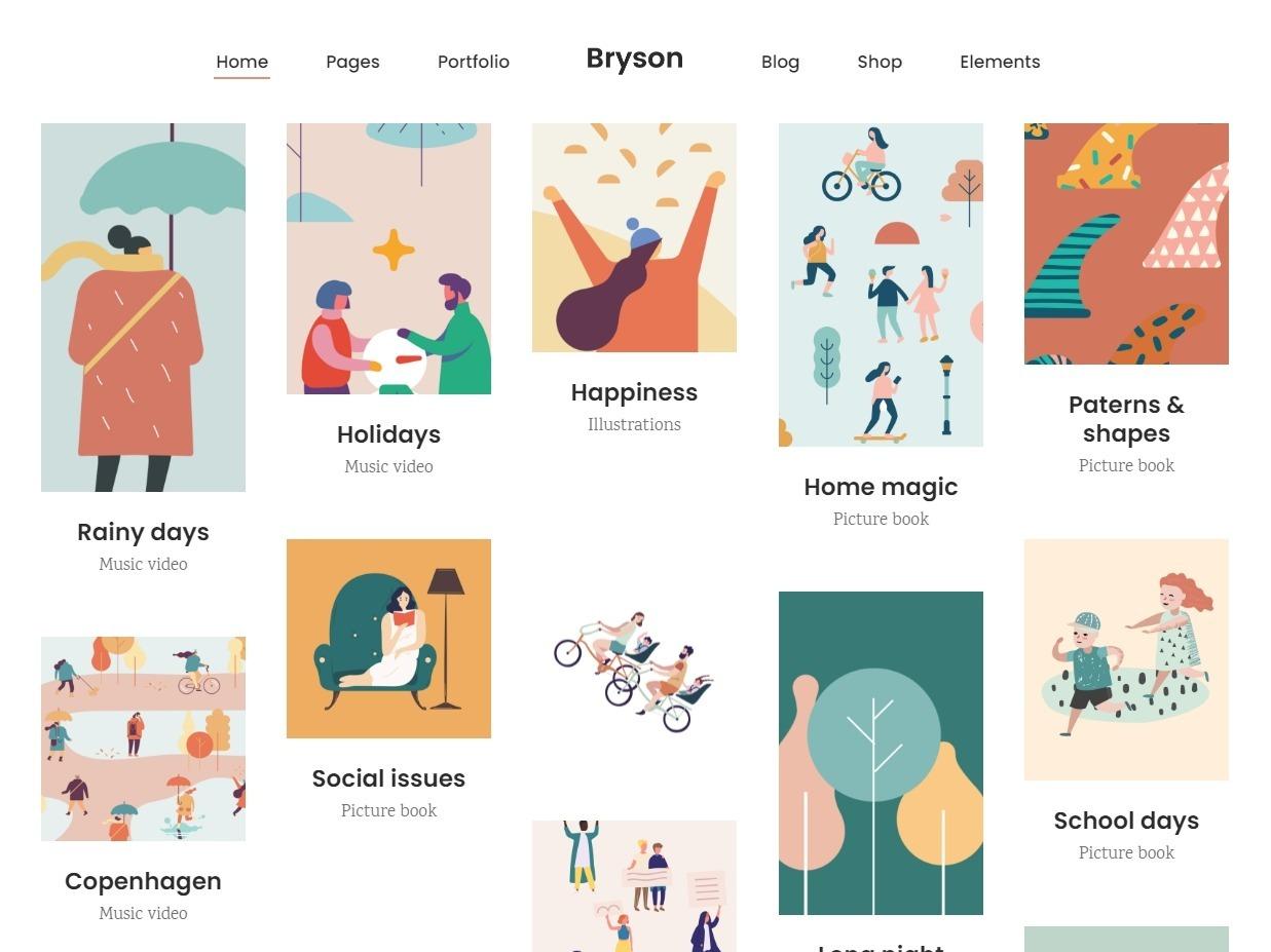 Bryson Pinterest Style WordPress Portfolio Theme for Illustrators
