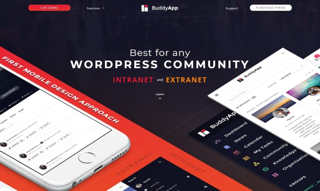 BuddyApp WordPress Theme for Intranet and Extranet Websites