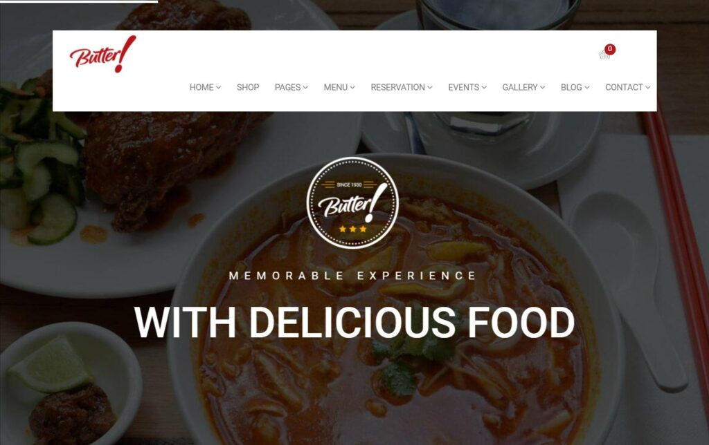 Butter Ultimate WP theme for Cafe Bakery and Pizza